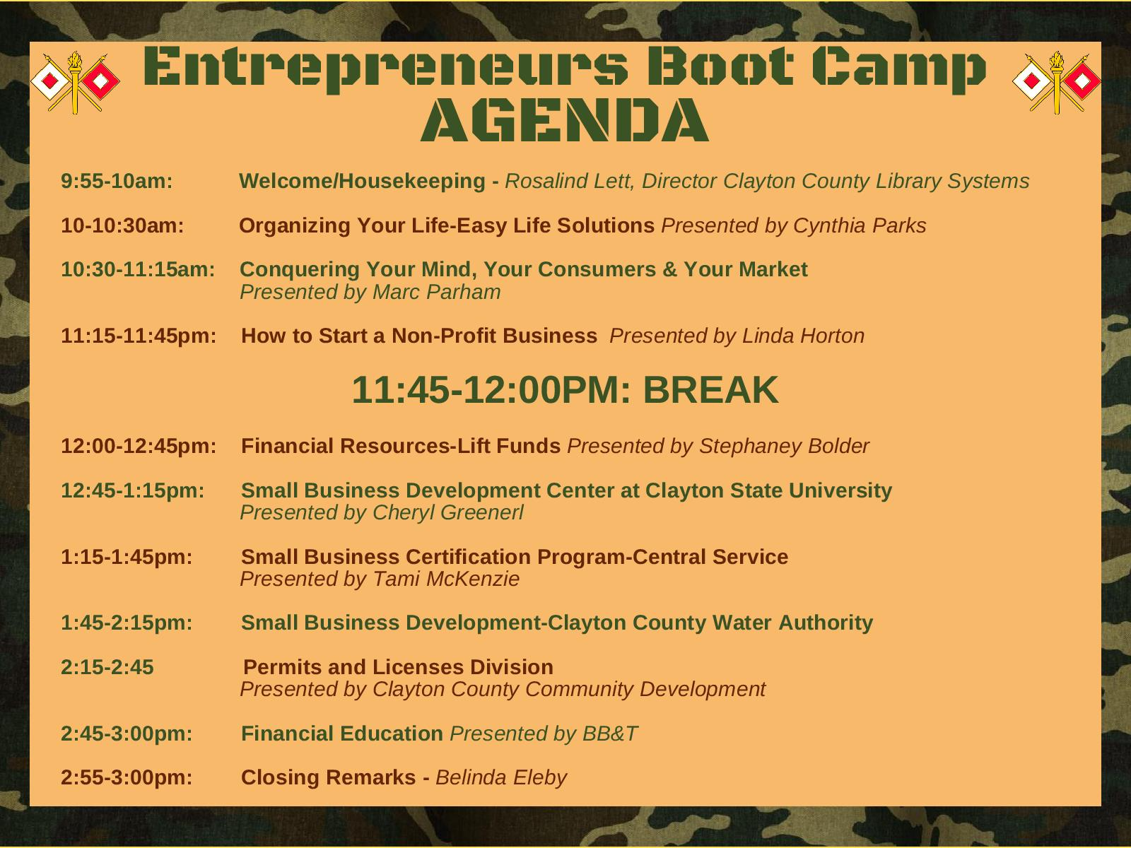Entrepreneurs Boot Camp - Clayton County Library System